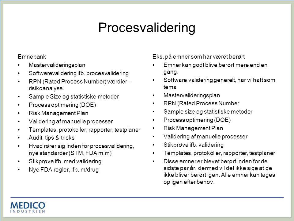 Procesvalidering Emnebank Mastervalideringsplan