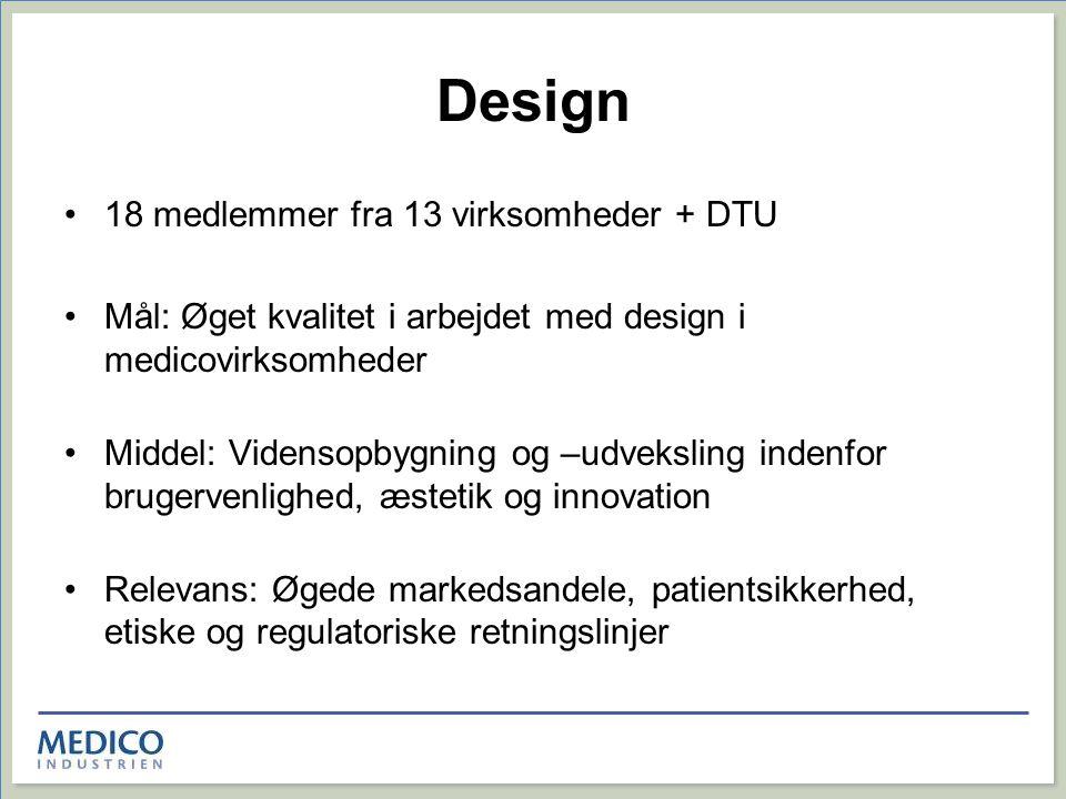 Design 18 medlemmer fra 13 virksomheder + DTU