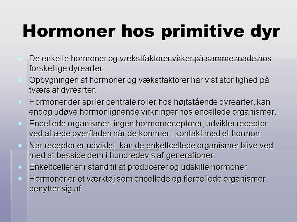 Hormoner hos primitive dyr
