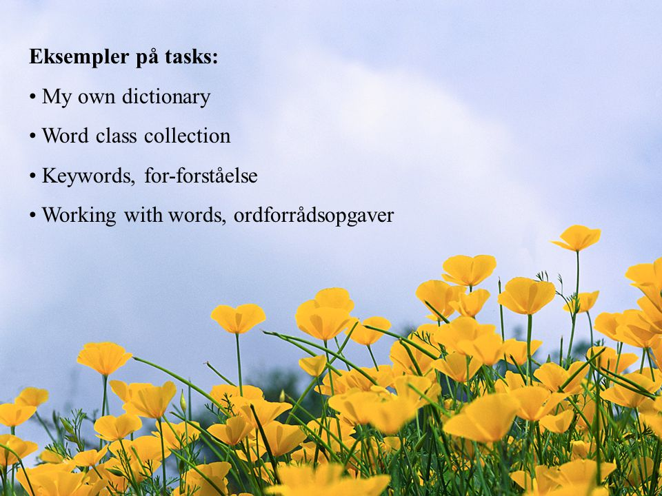 Eksempler på tasks: My own dictionary. Word class collection.