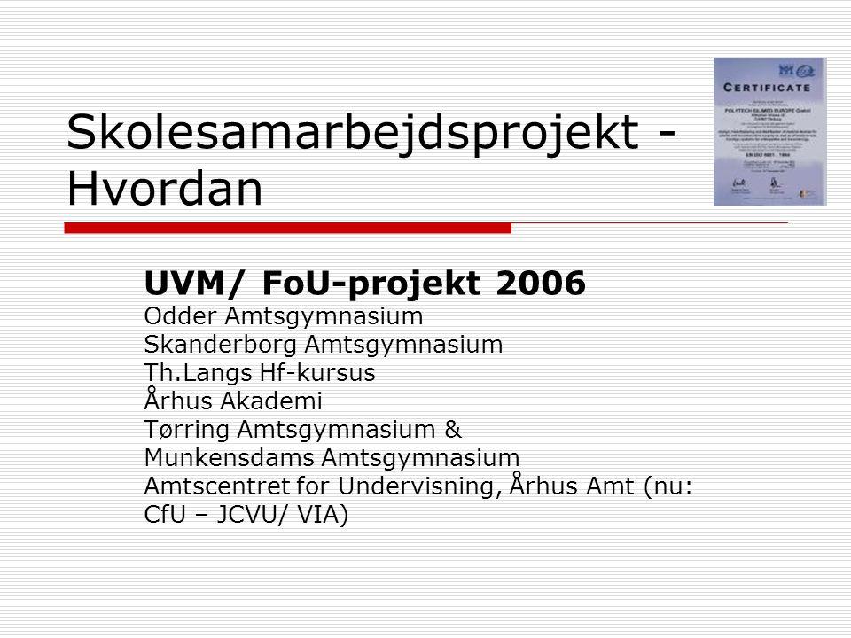 Skolesamarbejdsprojekt - Hvordan