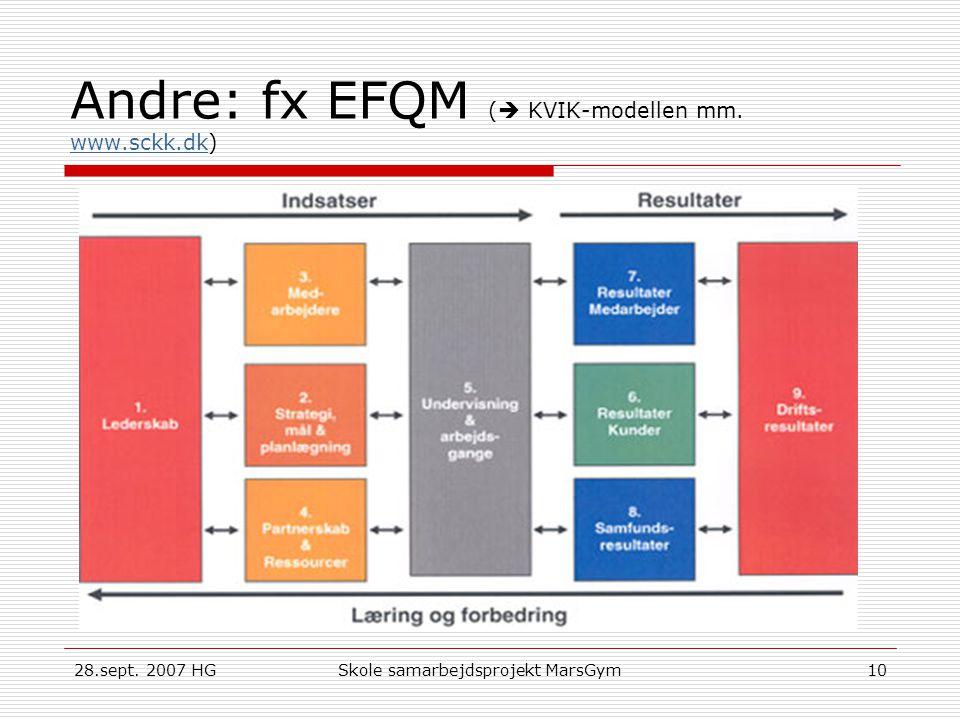 Andre: fx EFQM ( KVIK-modellen mm. www.sckk.dk)