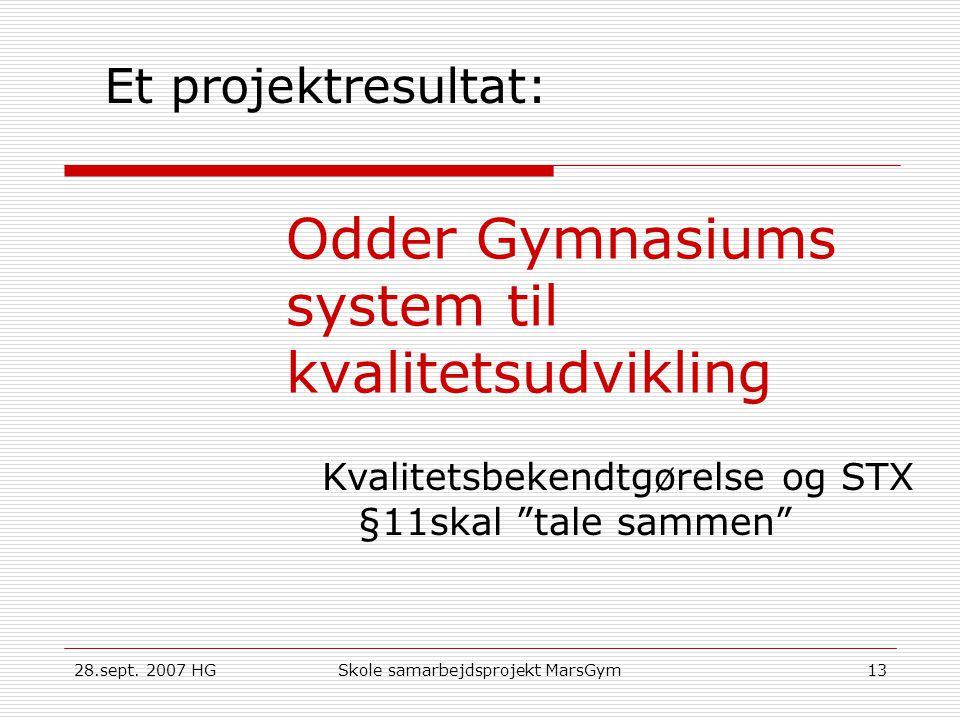 Odder Gymnasiums system til kvalitetsudvikling
