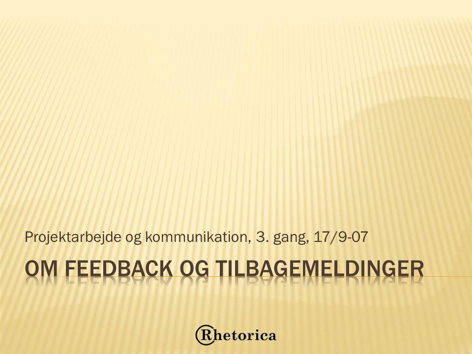 Om feedback og tilbagemeldinger
