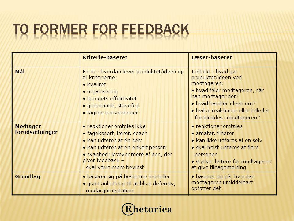 To former for feedback Kriterie-baseret Læser-baseret Mål