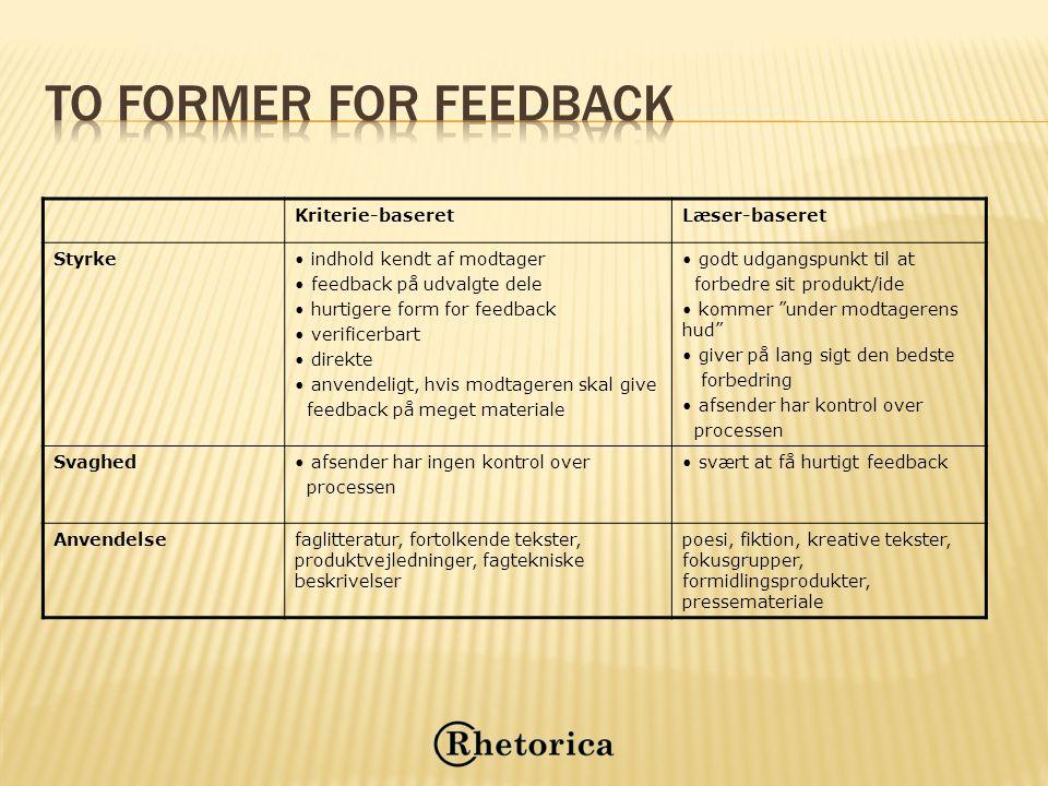 To former for feedback Kriterie-baseret Læser-baseret Styrke