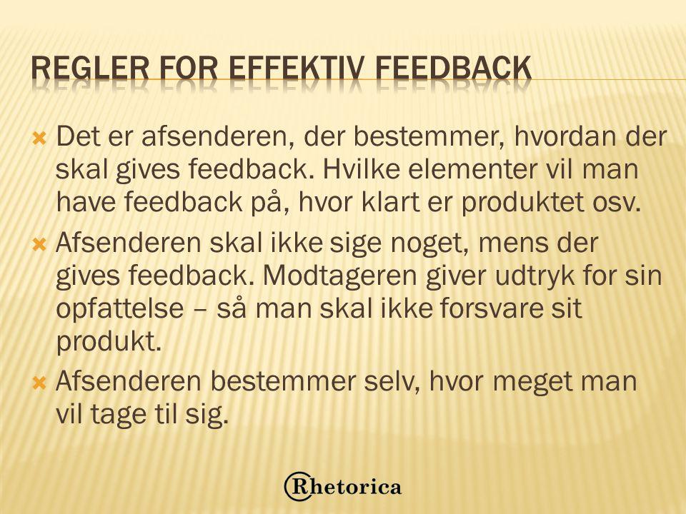 Regler for effektiv feedback