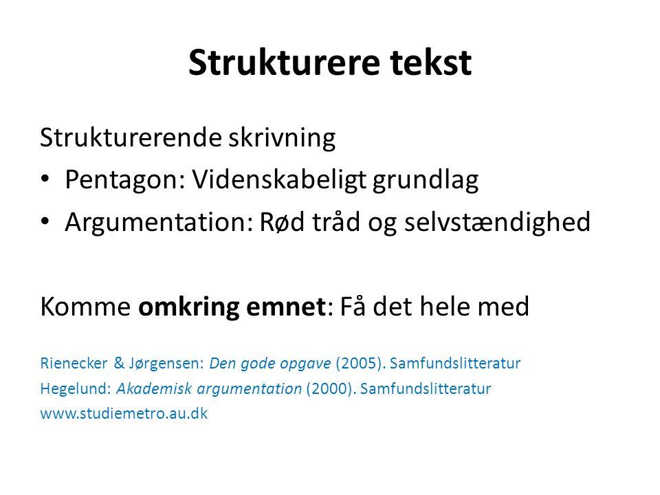 Strukturere tekst Strukturerende skrivning