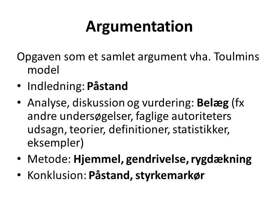 Argumentation Opgaven som et samlet argument vha. Toulmins model