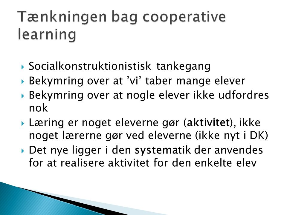 Tænkningen bag cooperative learning