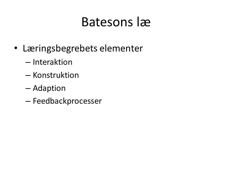 Batesons læ Læringsbegrebets elementer Interaktion Konstruktion