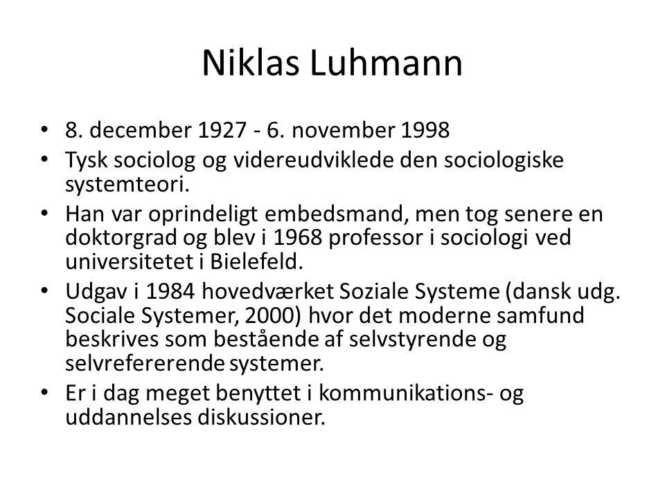 Niklas Luhmann 8. december 1927 - 6. november 1998