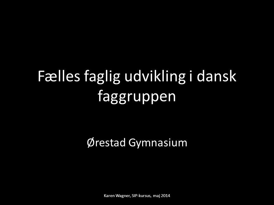 Fælles faglig udvikling i dansk faggruppen