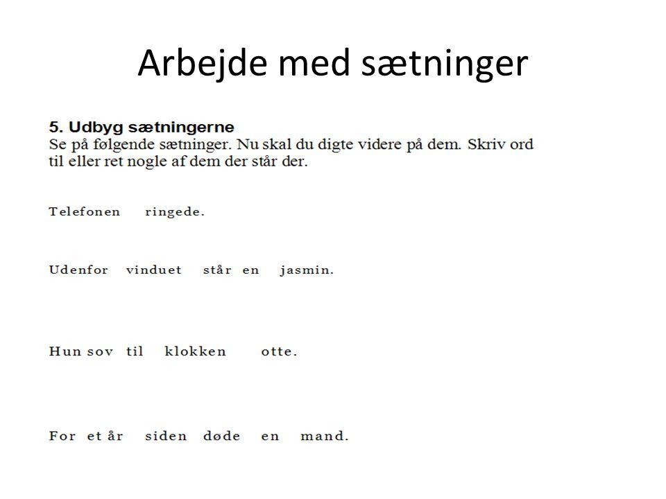 Arbejde med sætninger