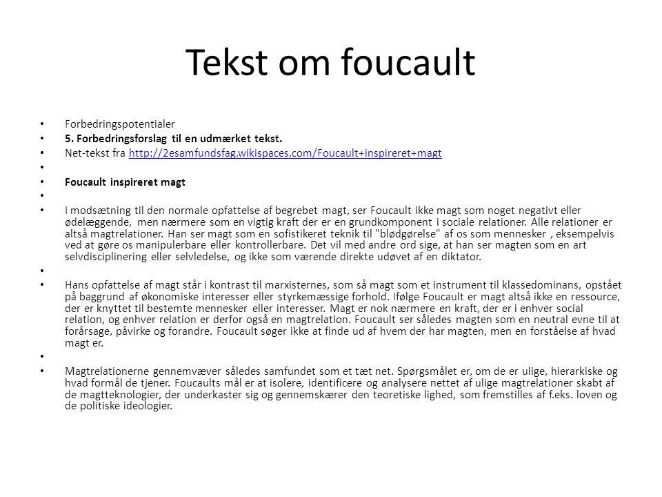 Tekst om foucault Forbedringspotentialer