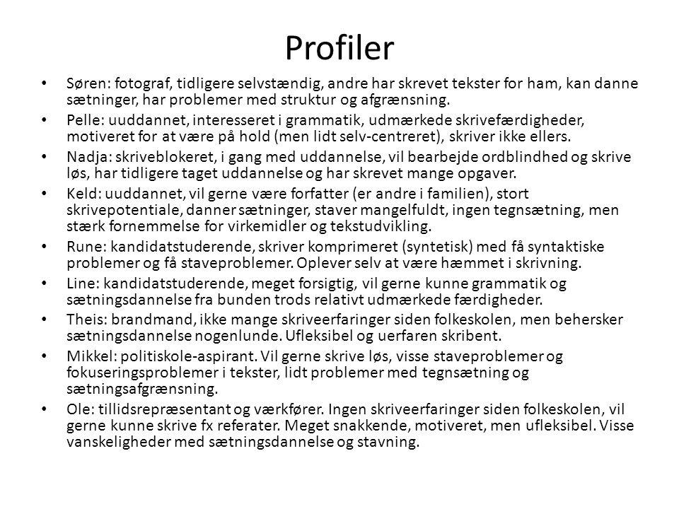 Profiler Søren: fotograf, tidligere selvstændig, andre har skrevet tekster for ham, kan danne sætninger, har problemer med struktur og afgrænsning.