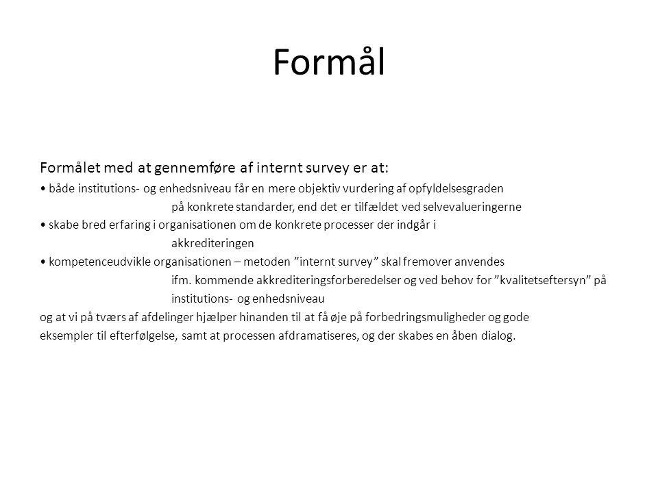 Formål Formålet med at gennemføre af internt survey er at: