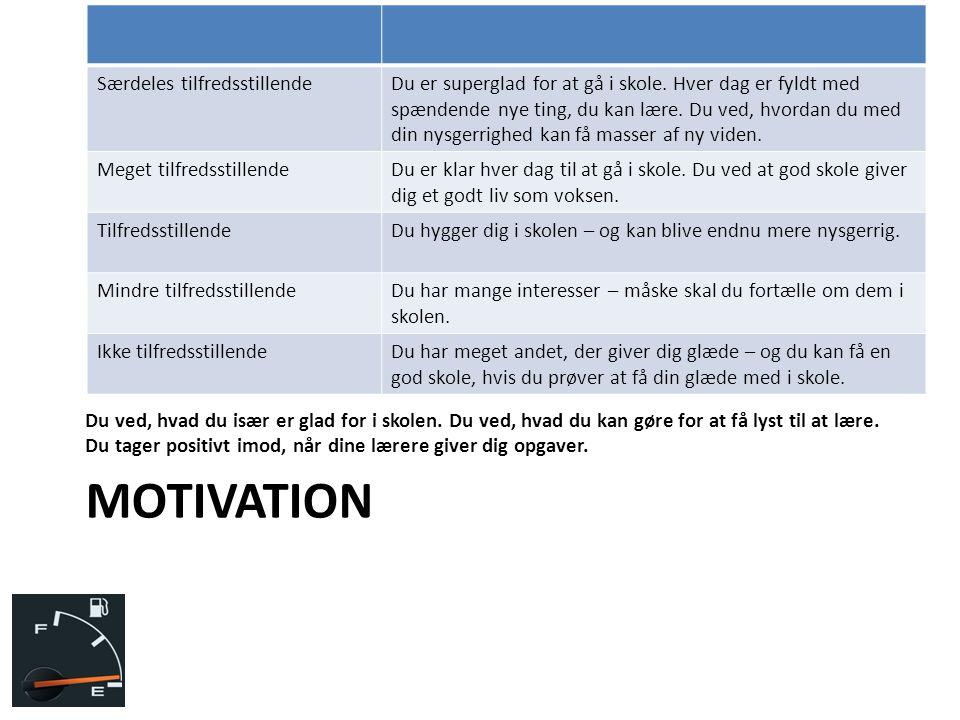 Motivation Særdeles tilfredsstillende