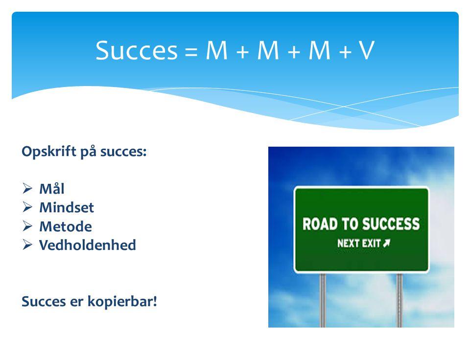 Succes = M + M + M + V Opskrift på succes: Mål Mindset Metode