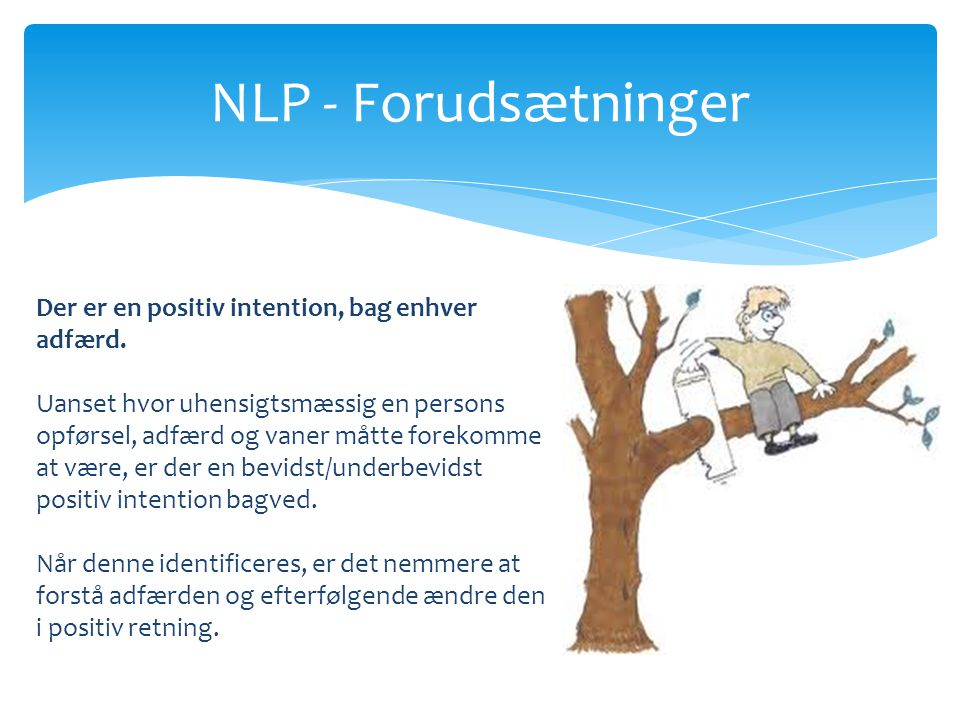NLP - Forudsætninger Der er en positiv intention, bag enhver adfærd.