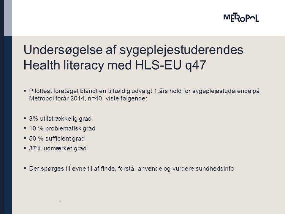 Undersøgelse af sygeplejestuderendes Health literacy med HLS-EU q47