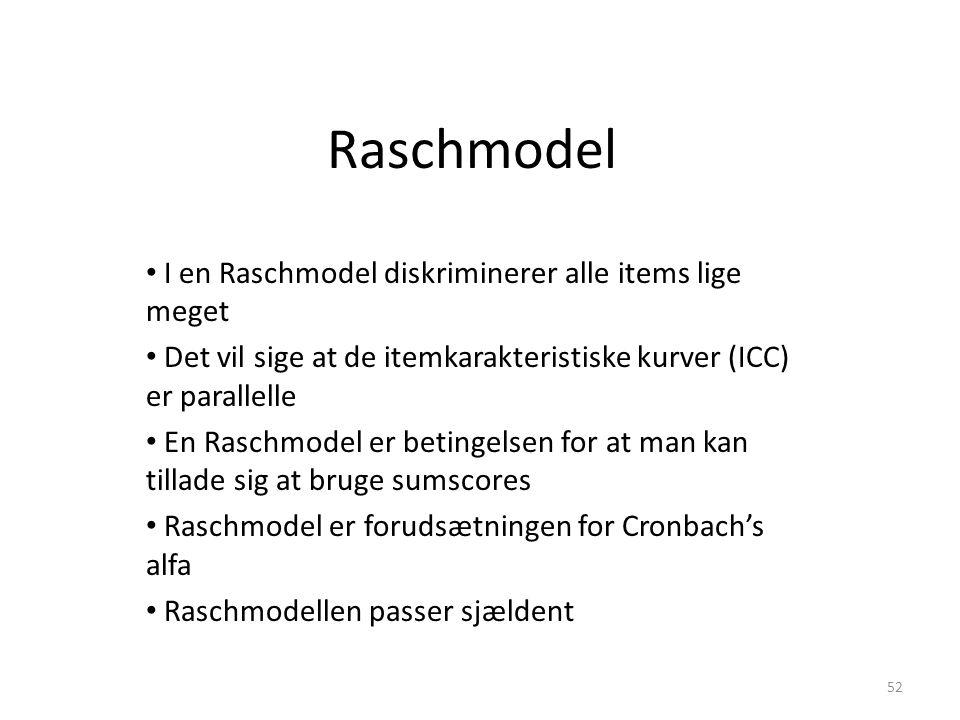 Raschmodel I en Raschmodel diskriminerer alle items lige meget