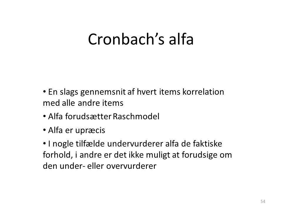 Cronbach's alfa En slags gennemsnit af hvert items korrelation med alle andre items. Alfa forudsætter Raschmodel.