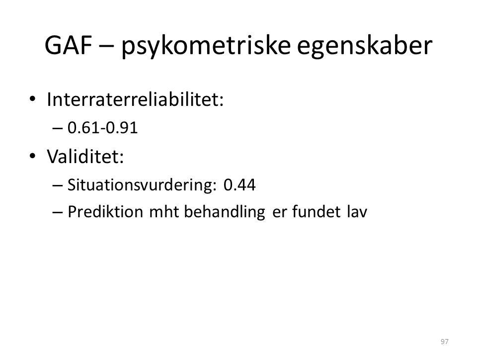 GAF – psykometriske egenskaber