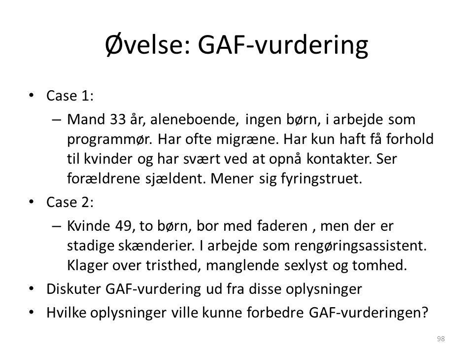Øvelse: GAF-vurdering