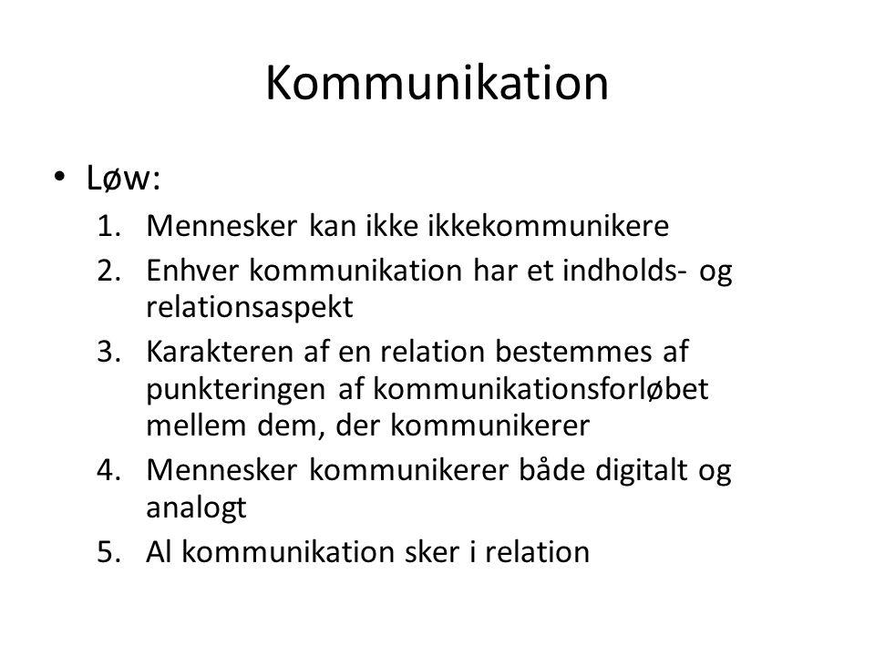 Kommunikation Løw: Mennesker kan ikke ikkekommunikere