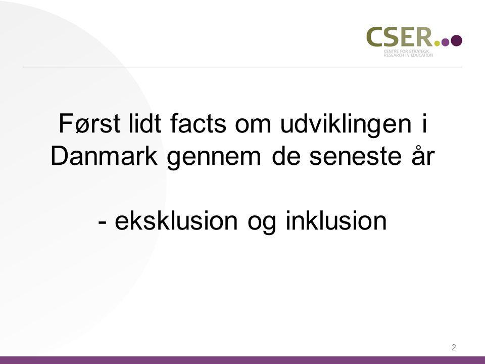 Først lidt facts om udviklingen i Danmark gennem de seneste år - eksklusion og inklusion