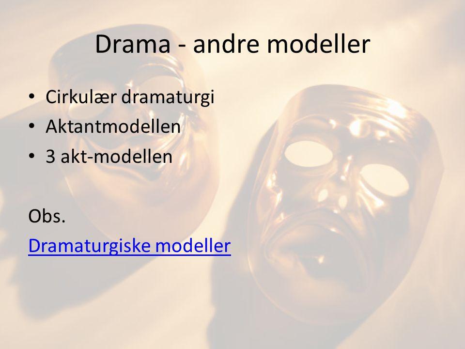 Drama - andre modeller Cirkulær dramaturgi Aktantmodellen
