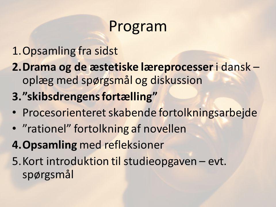 Program Opsamling fra sidst