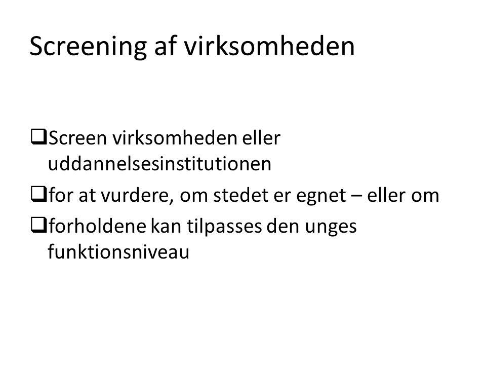 Screening af virksomheden