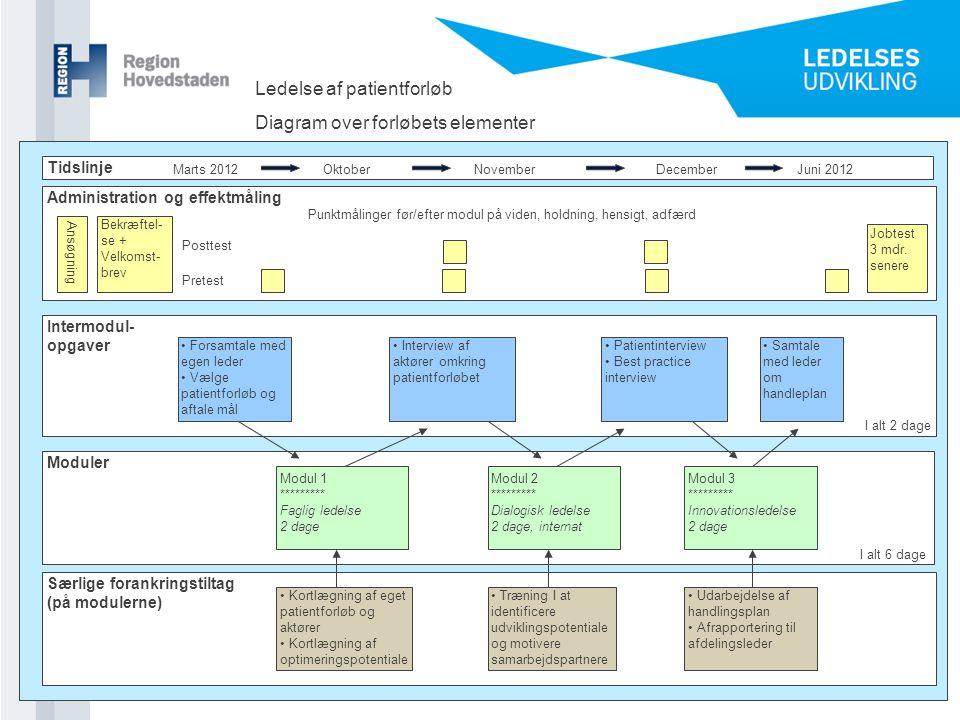 Ledelse af patientforløb Diagram over forløbets elementer