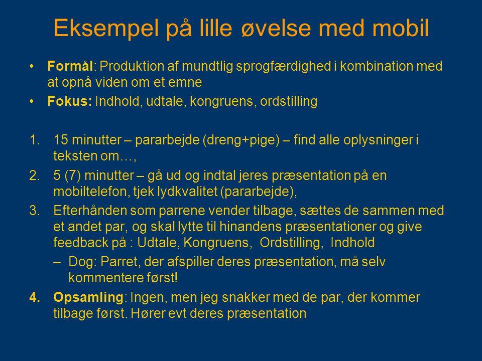 Eksempel på lille øvelse med mobil