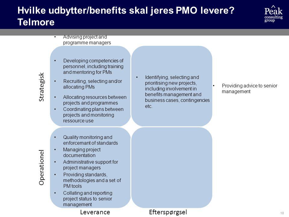 Hvilke udbytter/benefits skal jeres PMO levere Telmore
