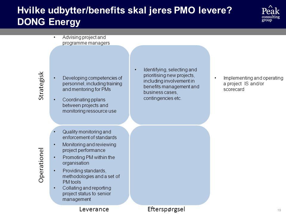 Hvilke udbytter/benefits skal jeres PMO levere DONG Energy