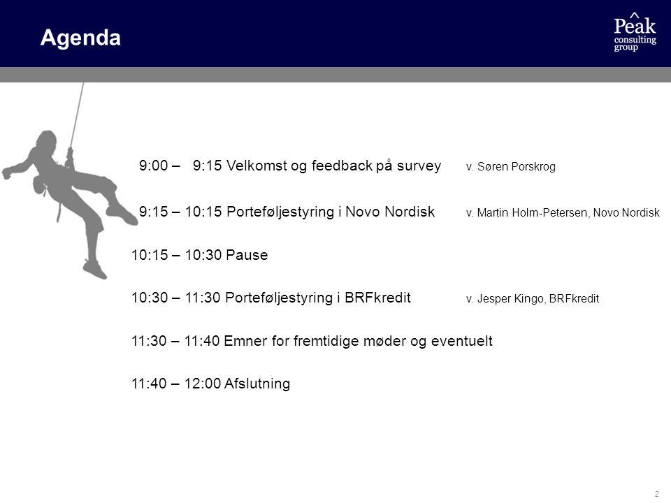 Agenda 9:00 – 9:15 Velkomst og feedback på survey v. Søren Porskrog