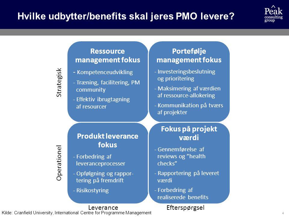 Hvilke udbytter/benefits skal jeres PMO levere