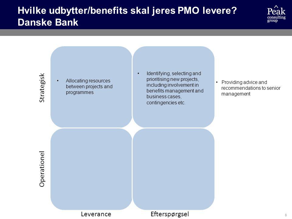 Hvilke udbytter/benefits skal jeres PMO levere Danske Bank