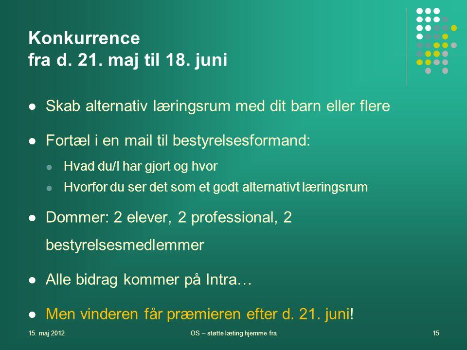 Konkurrence fra d. 21. maj til 18. juni