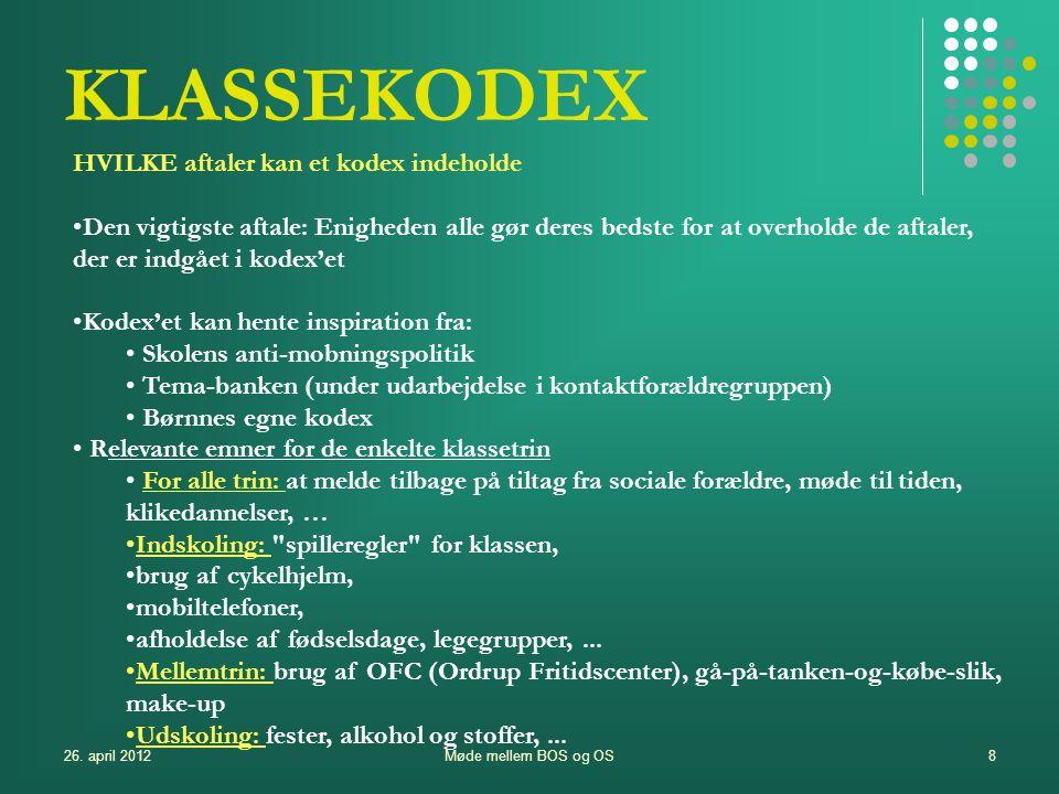 KLASSEKODEX HVILKE aftaler kan et kodex indeholde