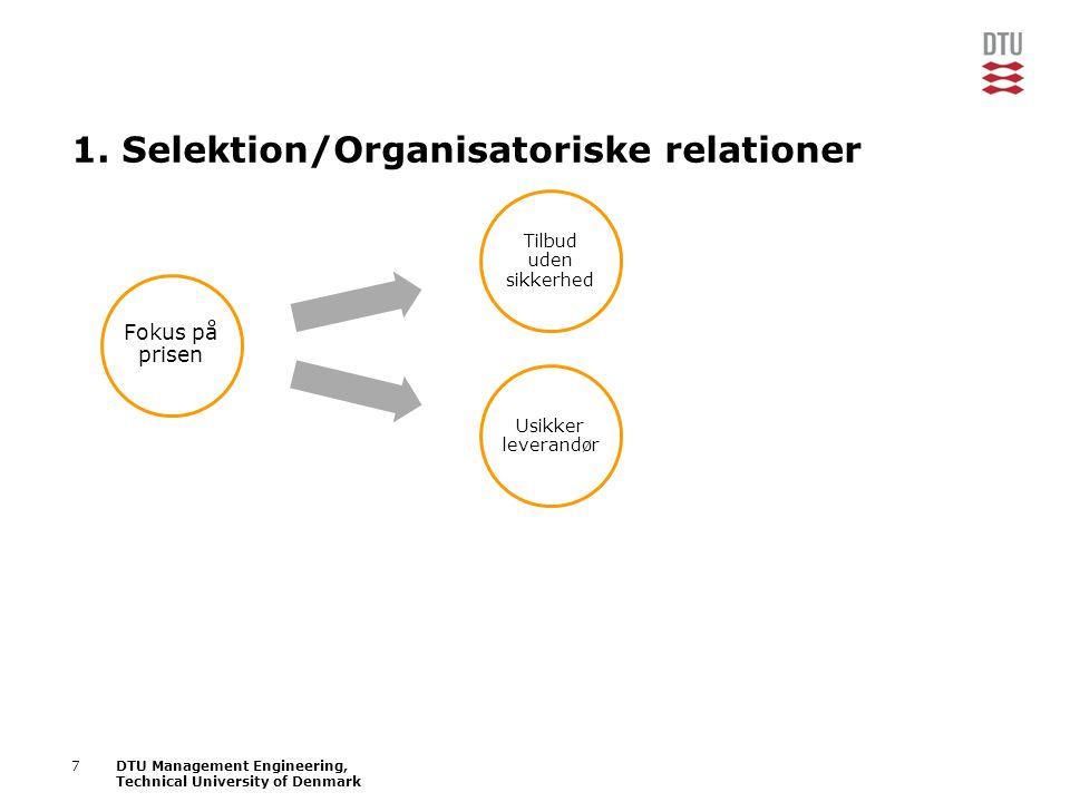 1. Selektion/Organisatoriske relationer
