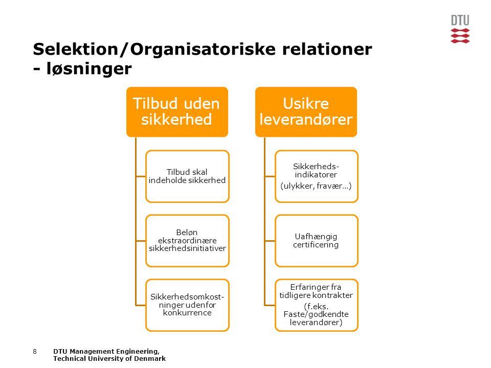 Selektion/Organisatoriske relationer - løsninger