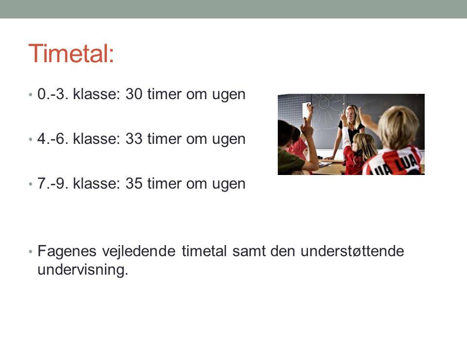 Timetal: 0.-3. klasse: 30 timer om ugen 4.-6. klasse: 33 timer om ugen