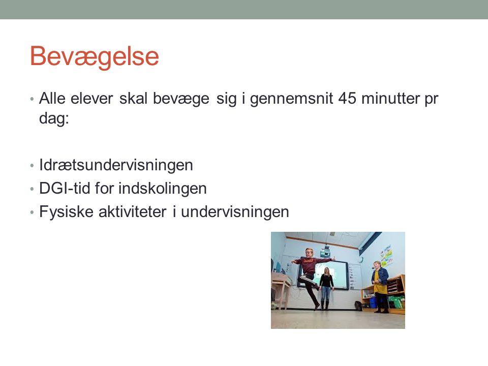 Bevægelse Alle elever skal bevæge sig i gennemsnit 45 minutter pr dag: