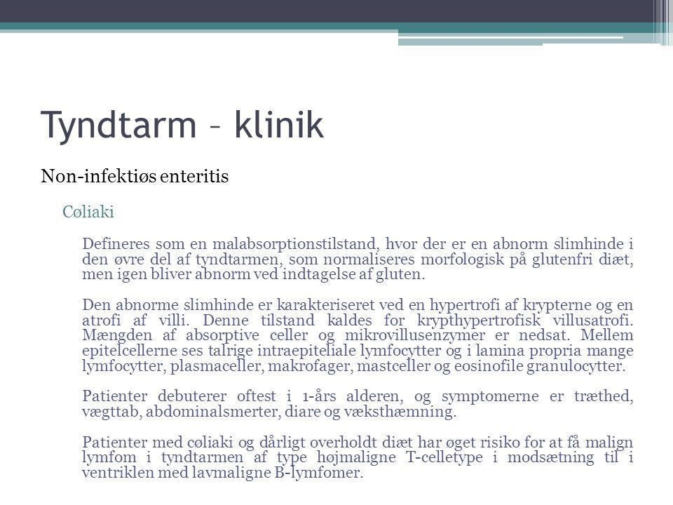 Tyndtarm – klinik Non-infektiøs enteritis Cøliaki