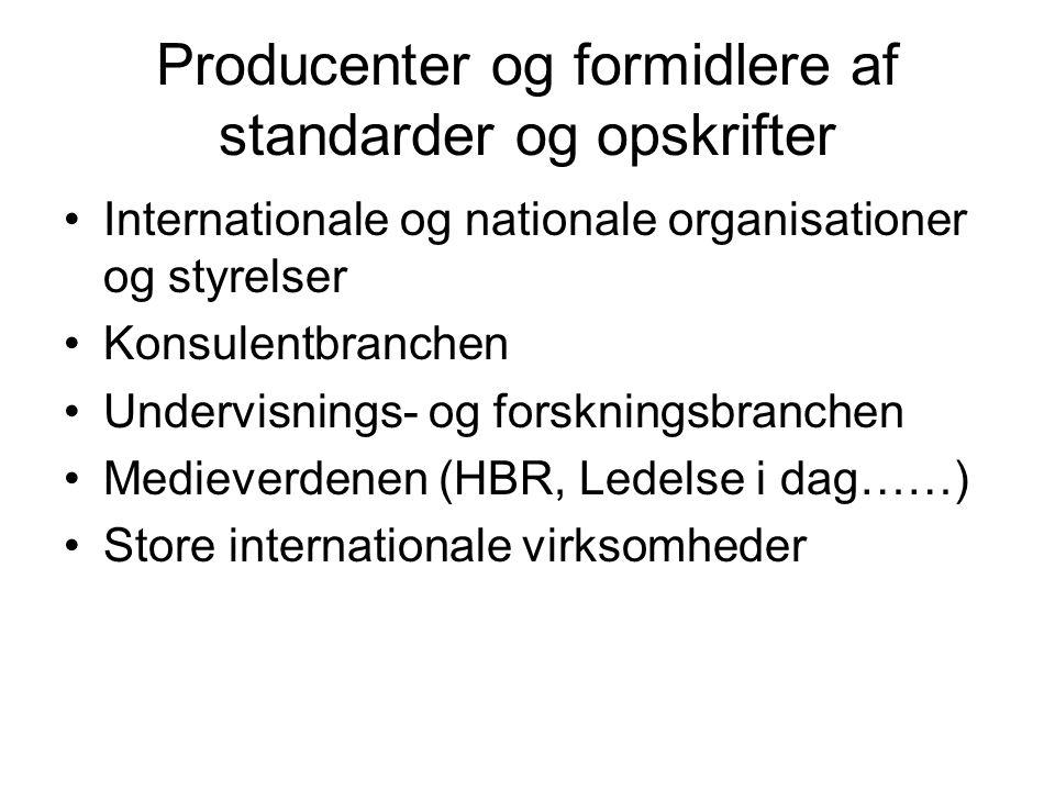 Producenter og formidlere af standarder og opskrifter