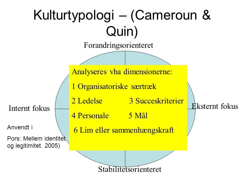Kulturtypologi – (Cameroun & Quin)